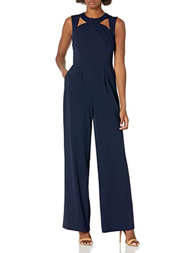 Calvin Klein Women's Sleeveless Jumpsuit with Cut Outs, Indigo, 10
