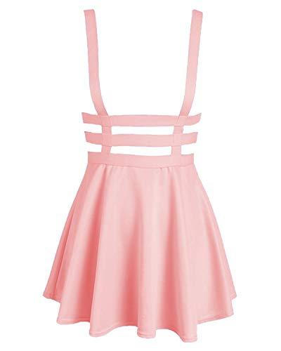 Bluetime Womens Pleated Short Braces Skirt (XXL, Pink)