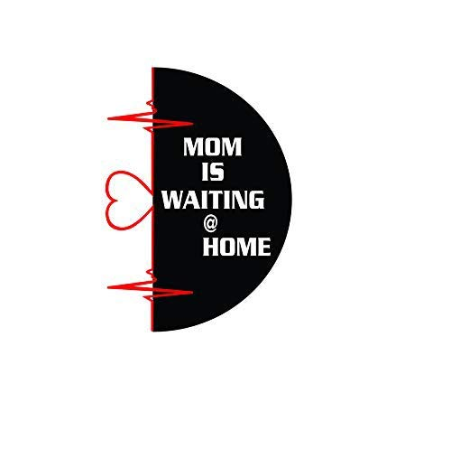 ISEE 360® Mom is Waiting at Home Sticker for Bike Pulser 200ns Dio Royal Enfield Side Meeter Back Side Decals Color-Multi-Color 4.05 x 7.00 cm