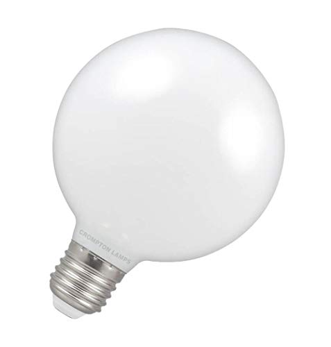 Crompton Lamps LED Globe 7W ES-E27 Dimmbar 2700K Warmweiß Opal 806lm G95 Weiß Große Glühbirne