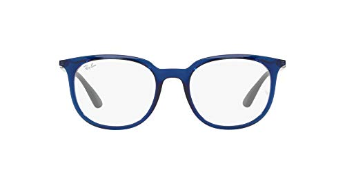 Ray-Ban 0RX7190 Gafas, TRANSPARENT BLUE, 53 Unisex Adulto