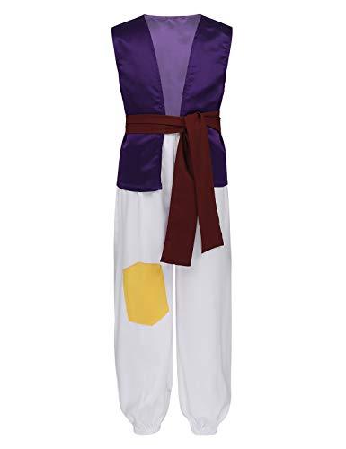 Agoky Kinderkostüm Jungen Halloween Arabischer Prinz Kostüm Set aus Ärmellos Weste Oberteil, Lange Hose und Satin Taillebund Fasching Outfits Violett 146-152/11-12 Jahre
