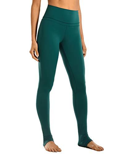 CRZ YOGA Mujer Pantalones Deportivos Leggings Yoga de Alta Cintura Extra Largo Leggins con Bolsillo -81cm Tinta Verde 46