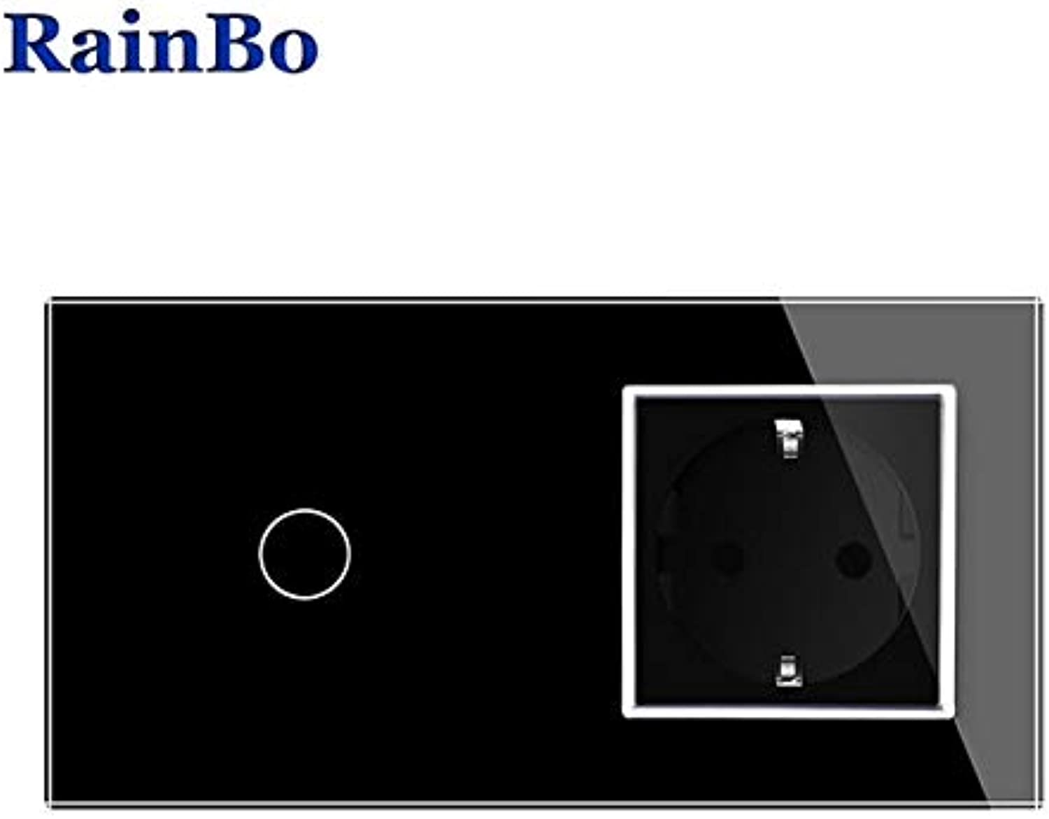 RainBo Brand Luxury Touch Screen Control Tempered Crystal Glass Panel Wall Light Touch Switch Socket Wall Socket A29118ECW B  (color  Black)