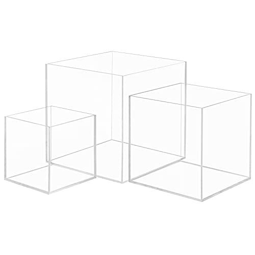 Belle Vous Scatola Acrilico Trasparente Cubo Trasparente (Set da 3) - 3 Cubi Portaoggetti Vetrina Espositiva per Collezionismo - Cubo Plexi Antipolvere per Giocattoli, Action Figure, Giocattoli