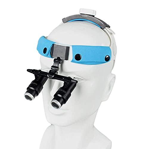 JANEFLY Lupa con luz, Lupa médica Lupas binoculares dentales Lupa médica quirúrgica 4X 6X con Faro LED para estomatología, ginecología, cardiología, cirugía Cerebral y oftalmología