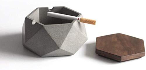 Cenicero Cemento nuevo cenicero de cubierta de madera refinada viento industrial moderna oficina en el hogar familiar cenicero minimalista, una cobertura de madera, sin cubierta de madera PinBaiYa