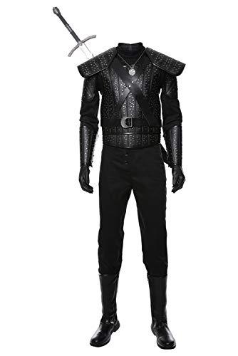 Lancoszp Herren Geralt of Rivia Kostum Costume Halloween Karneval Adulto Film Cosplay Geralt Kampfuniform Leder Schwarz, L