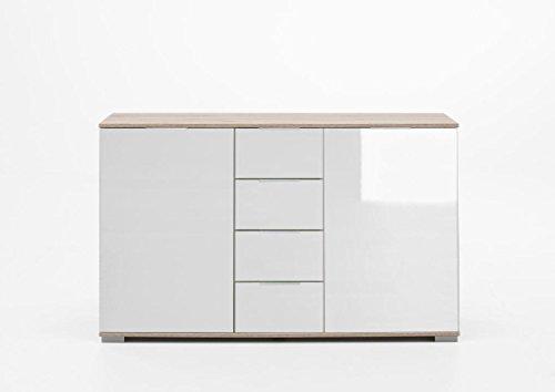 Wimex Kommode/ Kombikommode Easy Plus, (B/H/T) 83 x 41 x 130 cm, Eiche Sägegrau/ Absetzung Glas Weiß