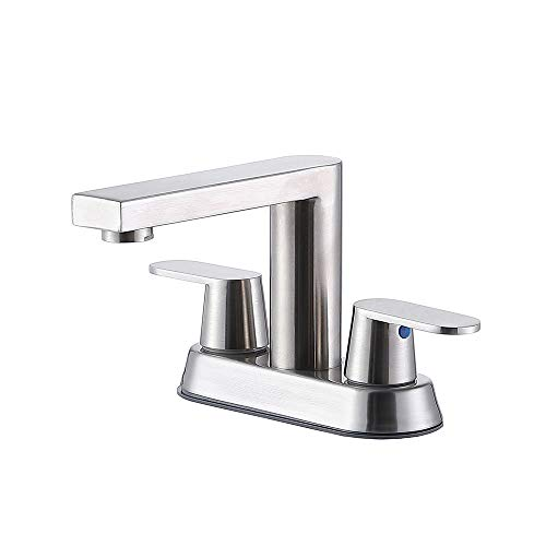 CASILVON Modern Commercial Bath Lavatory 2 Handle Stainless Steel Centerset Brushed Nickel Bathroom Faucet, Laundry Basin Vanity Bathroom Sink Faucet With Two 3/8