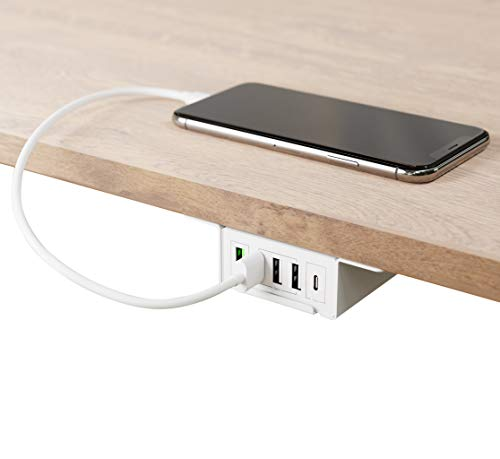 HumanCentric Under Desk USB Charging Station (White)   Under Desk USB Charger with USB-C, USB-A and QC 3.0   Gaming, Computer, and PC Accessory