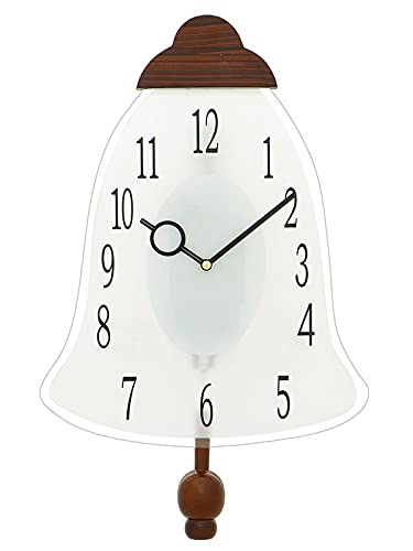 Artinest Door Bell Shape Numeric Figure Sweep Designer Glass Wooden Clock with White Frame (45 x 27 x 5 cm,Brown)