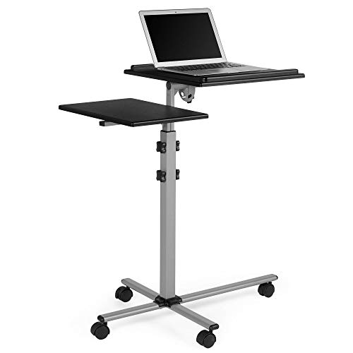 VonHaus Laptop + Projector Stand - Height Adjustable - Tilting Platform - 4 Castor Wheels - Portable and Mobile Cart - For Home Cinema/Entertainment & Presentation