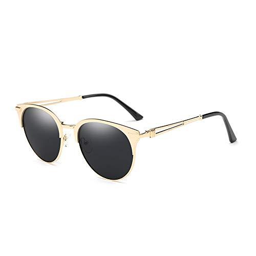 WHSS Gafas de Sol Gafas De Sol Polarizadas De Color Rosa Negro, Hombres Y Mujeres, Montura De Metal, Gafas De Sol Brillantes, Gafas Exteriores, Espejo De Conducción (Color : Gold)