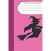 Composition Notebook: 7.5X9.25 Inch 109 Pages Broom Riding Witch Halloween Themed Half Blank Half Wide Ruled School Exercise Book With Picture Space For Girls and Women - Grades K2 Primary Elementary Secondary School Kids - Draw And Write Your Own Stories