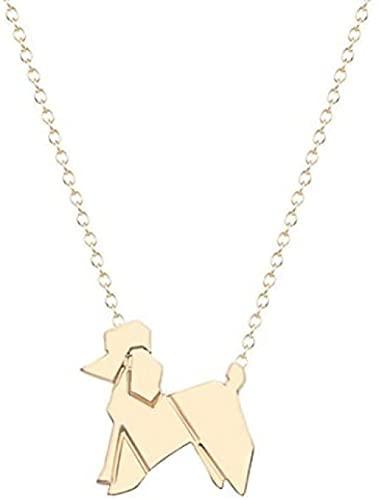 Collar Mujer Collar Hombre Colgante Collar de plata u oro con caniche Collar de origami con caniche colgante Colgante de joyería de animales de origami Collar Regalo para Hombres Mujeres Niñas Niños