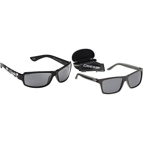Cressi Ninja Gafas De Sol, Hombre, Gris Camou/Lentes Gris, Ultra Flex Talla Única + Rio Sunglasses Gafas De Sol Deportivo Polarizados, Unisex Adultos, Negro/Gris Oscuro, Talla Única