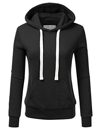 Doublju Basic Lightweight Pullover Hoodie Sweatshirt for Women Black Medium