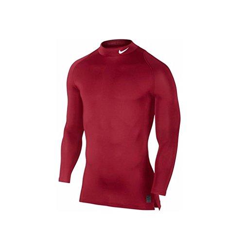 NIKE Cool Compression Long Sleeve Mock Top Camiseta de Manga Larga, Hombre, Rojo/Blanco, 2XL