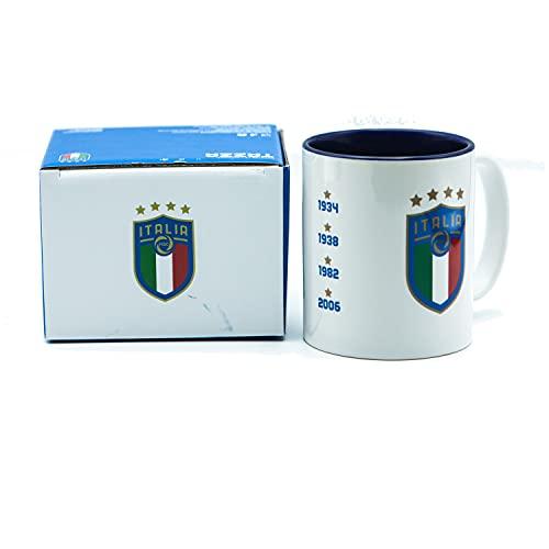 Generico Tasse Mug Italien, offizielles Produkt, Weiß mit blauem Logo & weltweiten Daten, mit Box & weißer Teelöffel