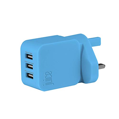 Juice Triple USB port universal mains charger for use with Apple iPads, iPhones & other Smartphones & Devices, Aqua