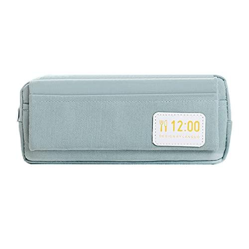 LZYMLG Estuche para lápices, estilo nórdico, color sólido, estuche para bolígrafos de gran capacidad para escuela, oficina, lápices de colores y marcadores con cremallera azul 20,4 x 8 cm