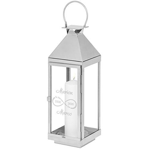 Geschenke 24, lantaarn, oneindigheid met gravure, gegraveerde bruiloftlantaarn, personaliseerbare roestvrijstalen lantaarn 60 x 16 x 16 cm