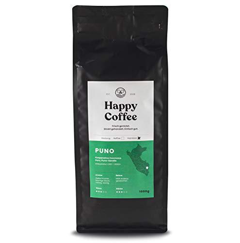 HAPPY COFFEE Bio Espressobohnen 1Kg [PUNO] schokoladig I Frische fair-trade Kaffeebohnen I Peru I Arabica Kaffee ganze Bohnen I Ideal für Vollautomat und Siebträger
