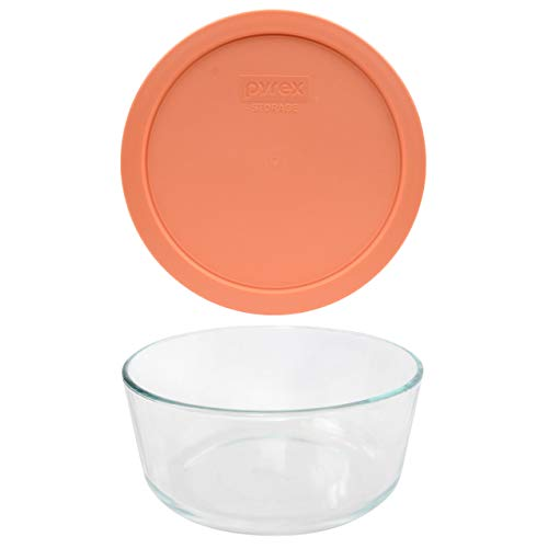 Pyrex (1) 7203 7 Cup Glass Dish & (1) 7402-PC 6/7 Cup Bahama Sunset Lid