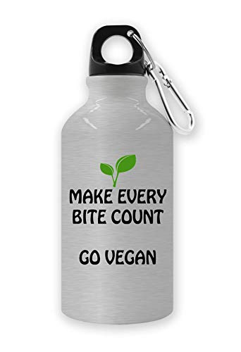 RaMedia Make Every Bite Count Go Vegan Slogan Style Waterfles