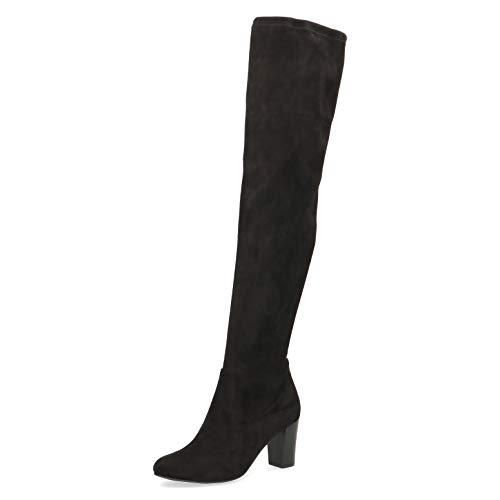 CAPRICE Damen Stiefel, Frauen Overknee Stiefel, lederstiefel sexy high Heels weiblich Lady feminin elegant Women,Black Stretch,37.5 EU / 4.5 UK