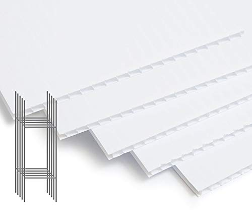 Pack of 5 [24 x18 Inches] Blank Yard Signs Corrugated Plastic White H Stand Stakes Set - for Garage Sale, Open House, Estate Sale, Yard Sale, for Rent, Now Hiring, Bandit Lawn Sign