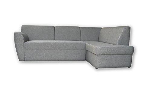 mb-moebel Ecksofa Sofa Eckcouch Couch mit Schlaffunktion und Bettkasten Ottomane L-Form Schlafsofa Polstergarnitur Margo (Ecksofa Rechts, Grau)