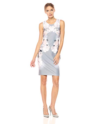 Calvin Klein Women's Printed Sheath Dress, Black/Vicuna, 12