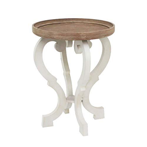 LICHUAN Mesa auxiliar retro de madera pequeña mesa auxiliar auxiliar mesa auxiliar mesa auxiliar de madera con aspecto de madera para sala de estar (color : mesa redonda de extremo)