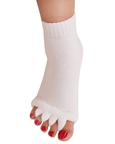 Yoga Sports GYM Five Toe Separator Socks Alignment Pain Health Massage Socks, Prevent Foot Cramps, One Pair,White