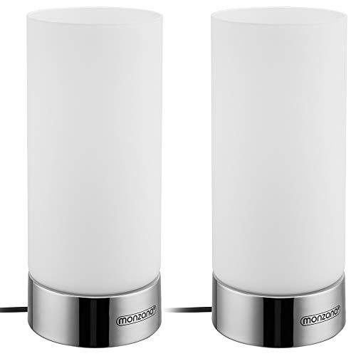 Monzana 2er Set Tischlampe touch dimmbar 3 Helligkeitsstufen Glas chrome E14 Tischleuchte Nachttischlampe Wohnzimmer