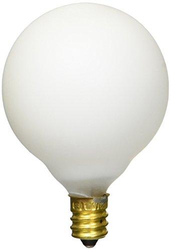 Satco S3832 120-Volt 60-Watt G16.5 Candelabra Base Light Bulb, Satin White
