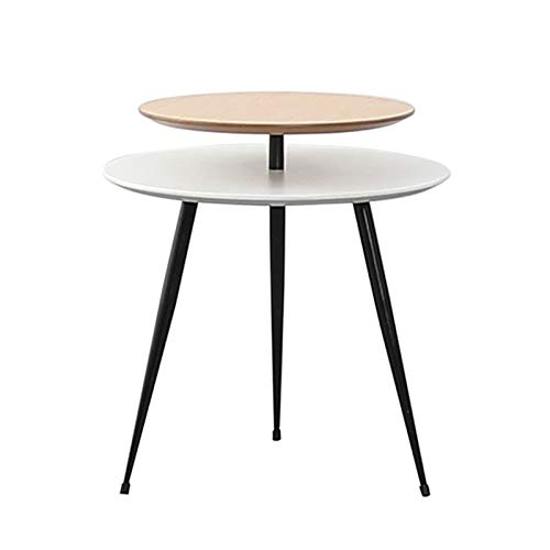 Heizung Small Coffee Table Beside the Sofa Double Layer Round Table Storage Shelf Snack Table with Metal Feet Bedside Table Used in the Living Room Bedroom Balcony (Color : C)