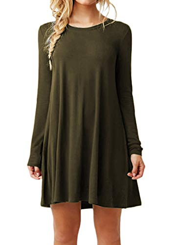TYQQU Femme Robe Loose Robe T-Shirt Col Rond Robe Casual Robe Chic Manches Longues Vert Armee L
