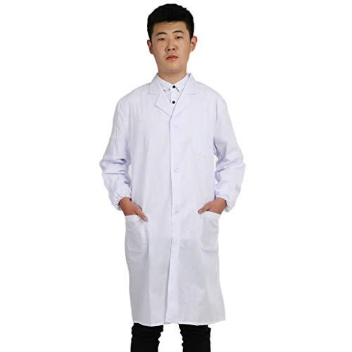 Keerads - Bata de laboratorio, bata de mdico, bata de mdico para mujer, color blanco para estudiantes, laboratorio cientfico, enfermera, cosplay blanco M