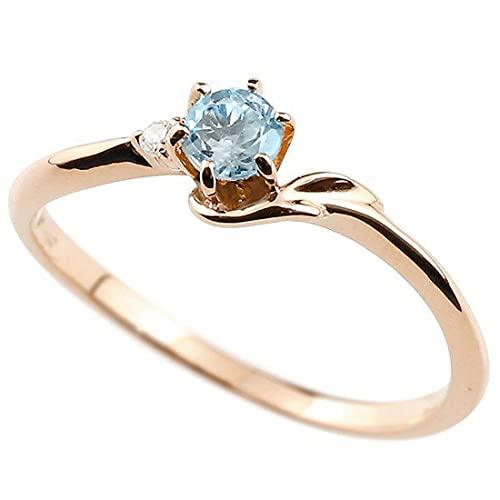 [アトラス]Atrus 指輪 レディース 18金 ピンクゴールドk18 ブルートパーズ ダイヤモンド イニシャル ネーム F ピンキーリング 華奢リング アルファベット 11月誕生石 人気 16号