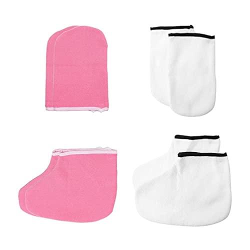 LIXBD 4 Paar Paraffinwachs, Badehandschuhe, Füße, feuchtigkeitsspendende Arbeitshandschuhe, Fuß-Spa-Abdeckung, Paraffin-Wachs-Wärmer isoliert, Handschuhe für Hand- und Fußbehandlung