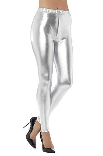 Smiffys Damen 80er Jahre Metallic Disko Leggings, Größe: 44-46, Silber, 48105