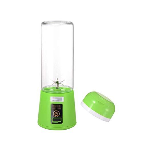 Pequeño Mezclador de Zumo Usb Juicer Portátil Copa Licuadora Máquina Mezcladora de Alimentos para Niños Y Frutas Al Aire Libre Recargable para el Hogar 6 Cuchillas 400 Ml, Ibuprofen, Verde