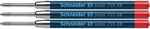 Schneider Writing Instruments, Ballpoint Pen Refills, Slider 755 XB, Colour: red, Pack of 3 Blister Cards.