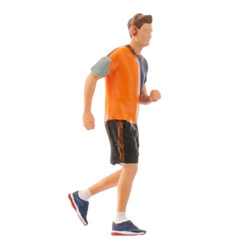 sharprepublic 1:64 Figuras en Miniatura Pintadas a Mano Escenario de Maratón Deportivo Estatuilla Edificio Diorama Personas Paisaje Accesorios - Naranja, Hombre
