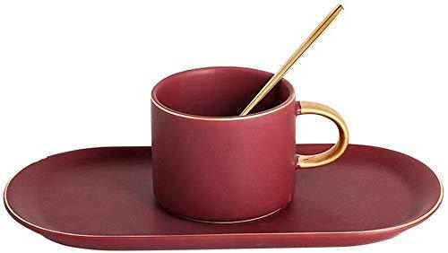GJJSZ Keramik Kaffeetasse Büro Geschenke Nordic Keramik Kaffeetasse Und Untertasse Set Mit Tablett Farbe Tasse Kreative Geburtstagsgeschenk(Farbe: Lila,Größe: 300 ml)