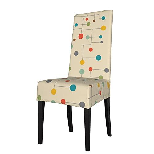 Funda de Asiento para Silla con diseño de Puntos de Mediados de Siglo, Fundas para sillas de Comedor, Fundas elásticas, Protector de Silla Lavable