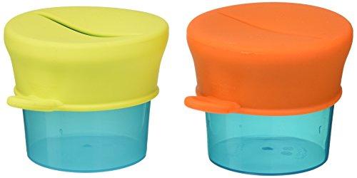 TOMY BOON - Pots pour goûter et Couvercles Extensibles SNUG TOMY B11125, Petits Pots pour Bébé, 2 Pots et 2 Couvercles en Silicone, Accessoires pour Bébés dès 9 mois